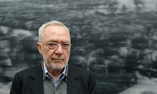 Gerhard Richter infront of his painting Beerdigung (funeral) from the 18 October 1977 cycle Image Via: http://www.theguardian.com/artanddesign/jonathanjonesblog/2010/nov/22/gerhard-richter-tate-modern-great