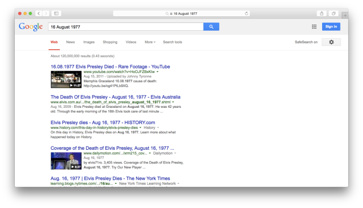 16 August 1977 Google Web Search Screenshot