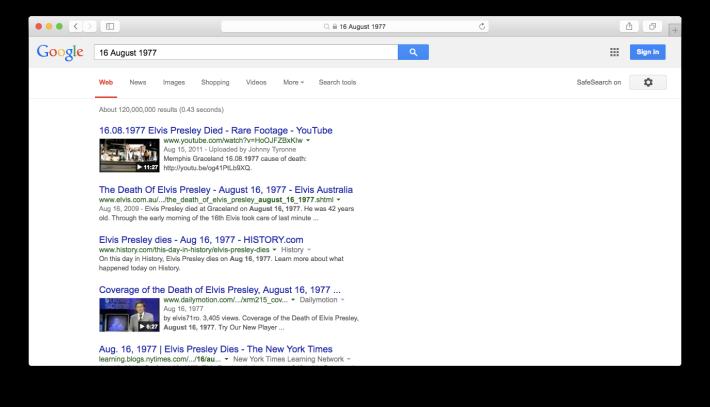 16 August 1977 Google Web Search Screenshot