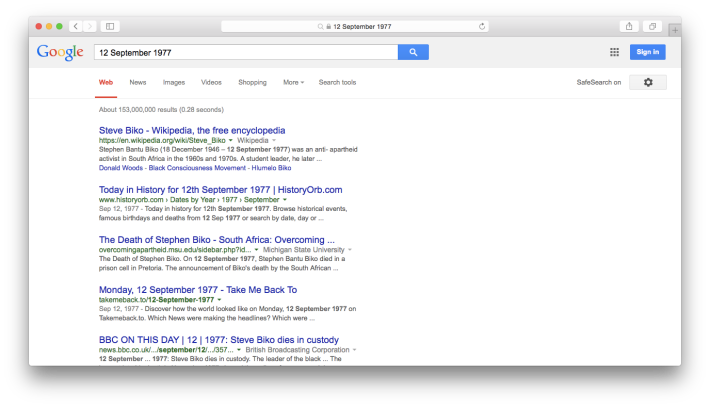 12 September Google Web Search Screenshot