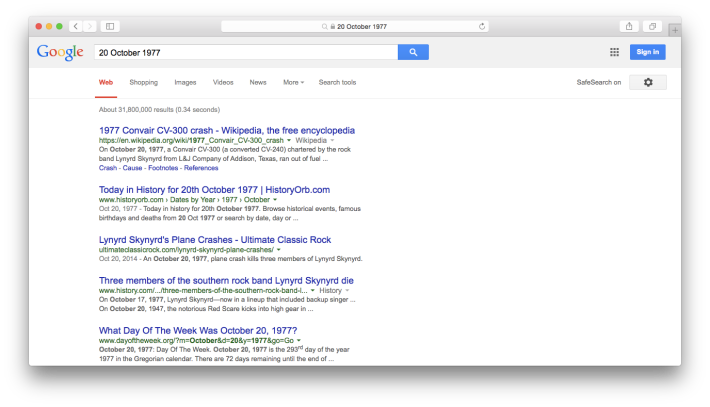 20 October 1977 Google Web Search Screenshot