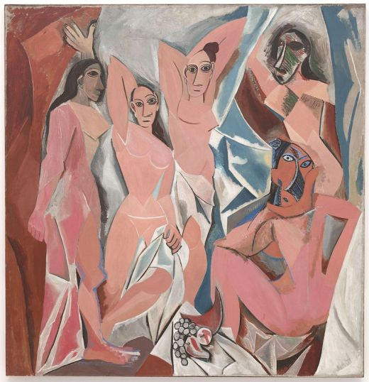 Picasso, Les Demoiselles d'Avignon, 1907, oil on canvas, 244 x 234 cm, Described by kahnweiler as the beginning of Cubism.