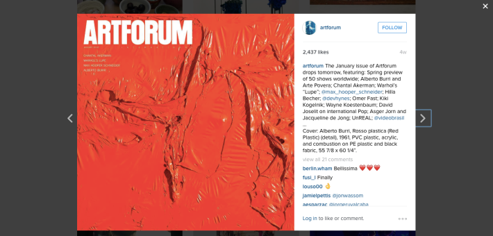 art forum jan 2016 instagram